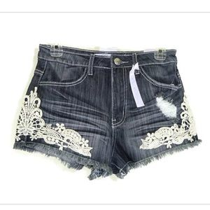 Medium to dark wash denim shorts